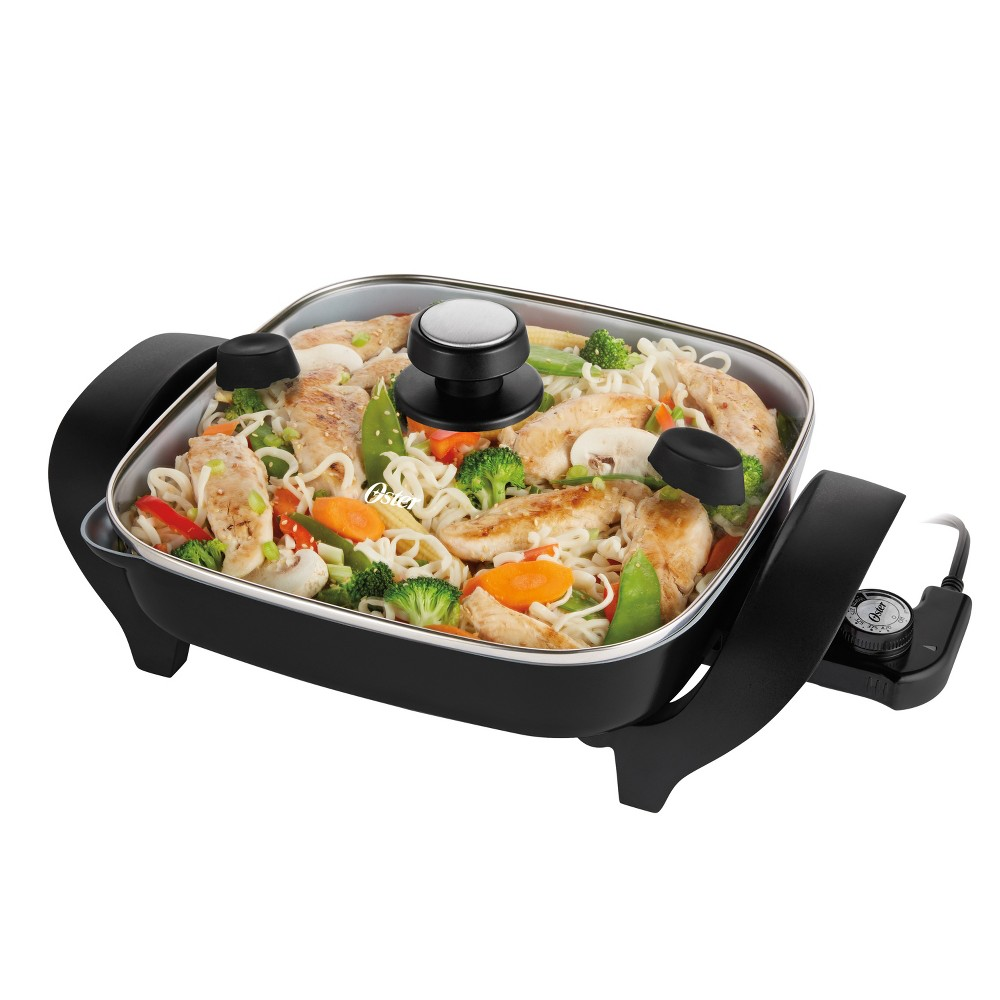 Oster DuraCeramic 12 Electric Skillet With Pour & Strain Lid – Black CKSTSK12S-Teco 14674773