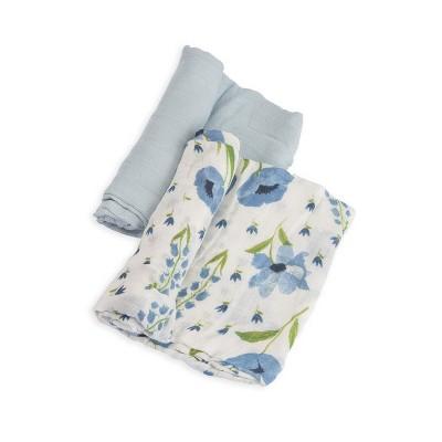Little Unicorn Deluxe Cotton Muslin Blanket 2pk - Blue Windflower