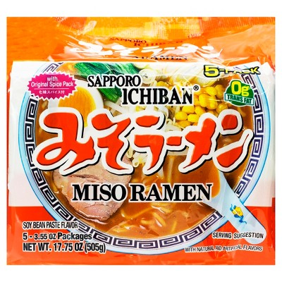Sapporo Ichiban Soy Bean Paste Miso Ramen Noodle Soup - 17.75oz/5ct