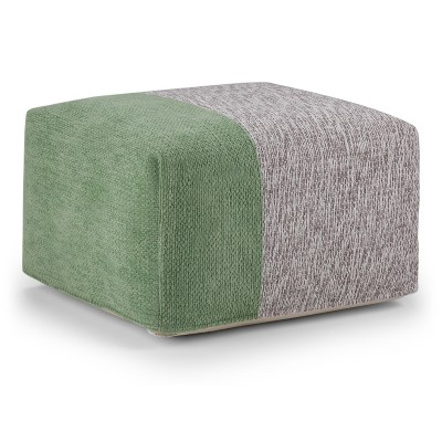Felix Square Pouf Green/Gray Chenille Look Cotton - Wyndenhall