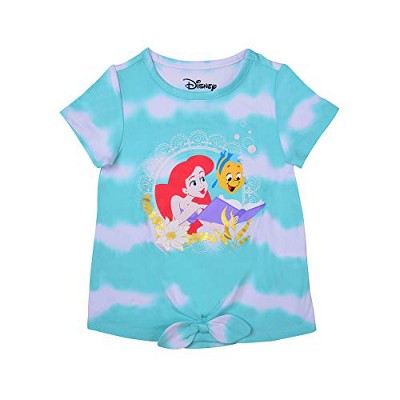 Girl's Disney Princess Ariel Tie Dye Bow Front Graphic Tee Shirt For Kids