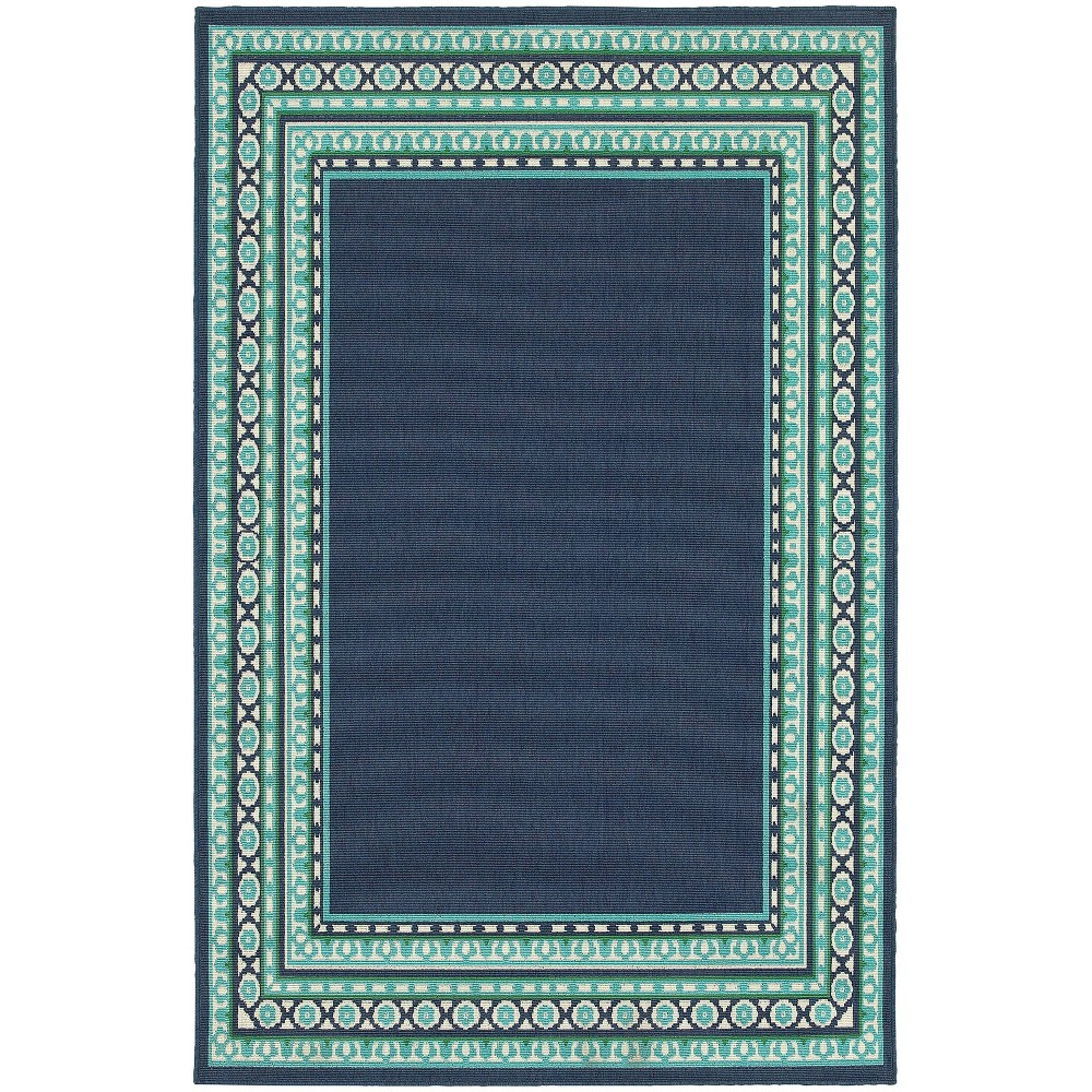 Image of 1'10''X2'10'' Marlowe Border Patio Rug Navy/Green, Size: 1'10''X2'10'', Blue