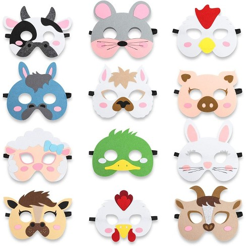 12-Pack Farm Animal Felt Masks Party Favors, Barnyard Farmhouse Theme Birthday Classroom Supplies for Kids - image 1 of 4