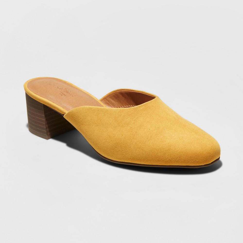 Women's Avianna Wide Width Low Vamp Kitten Heeled Mules - Universal Thread Mustard (Yellow) 5W, Size: 5 Wide