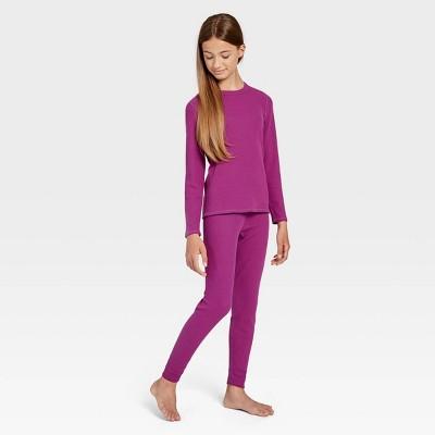 Wander by Hottotties Girls' 2pc Rib Thermal Underwear Set - Pink
