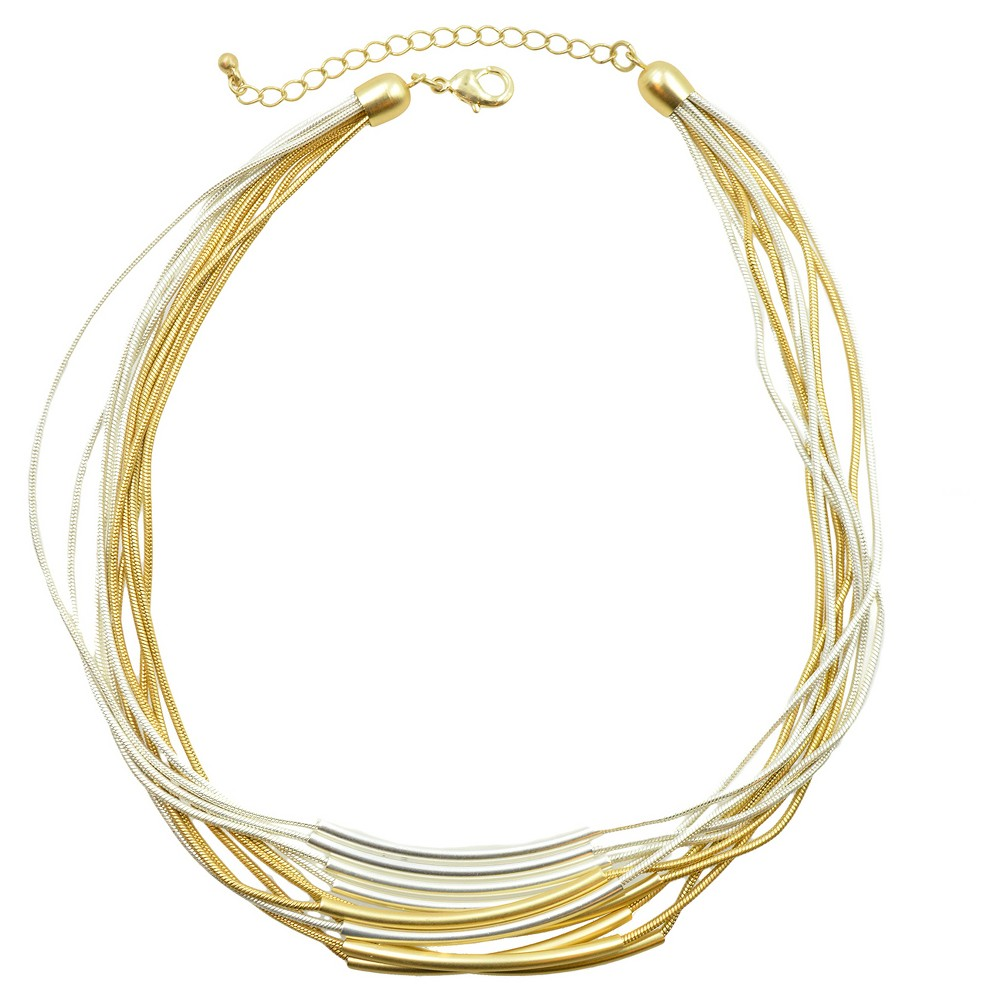 Women's Multi Row Necklace - Silver/Gold - (17)