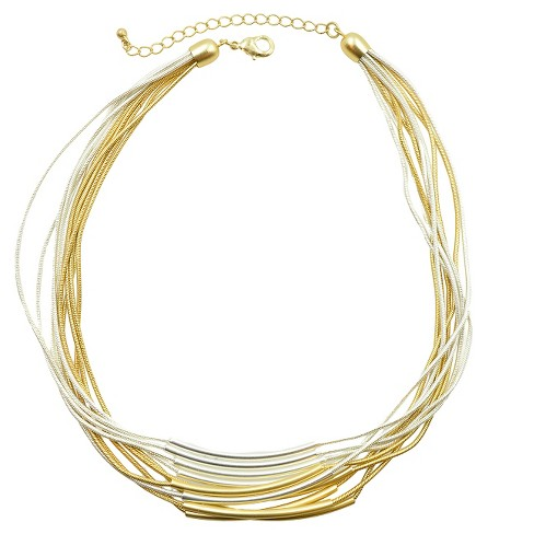"Women's Multi Row Necklace - Silver/Gold - (17"") - image 1 of 1"