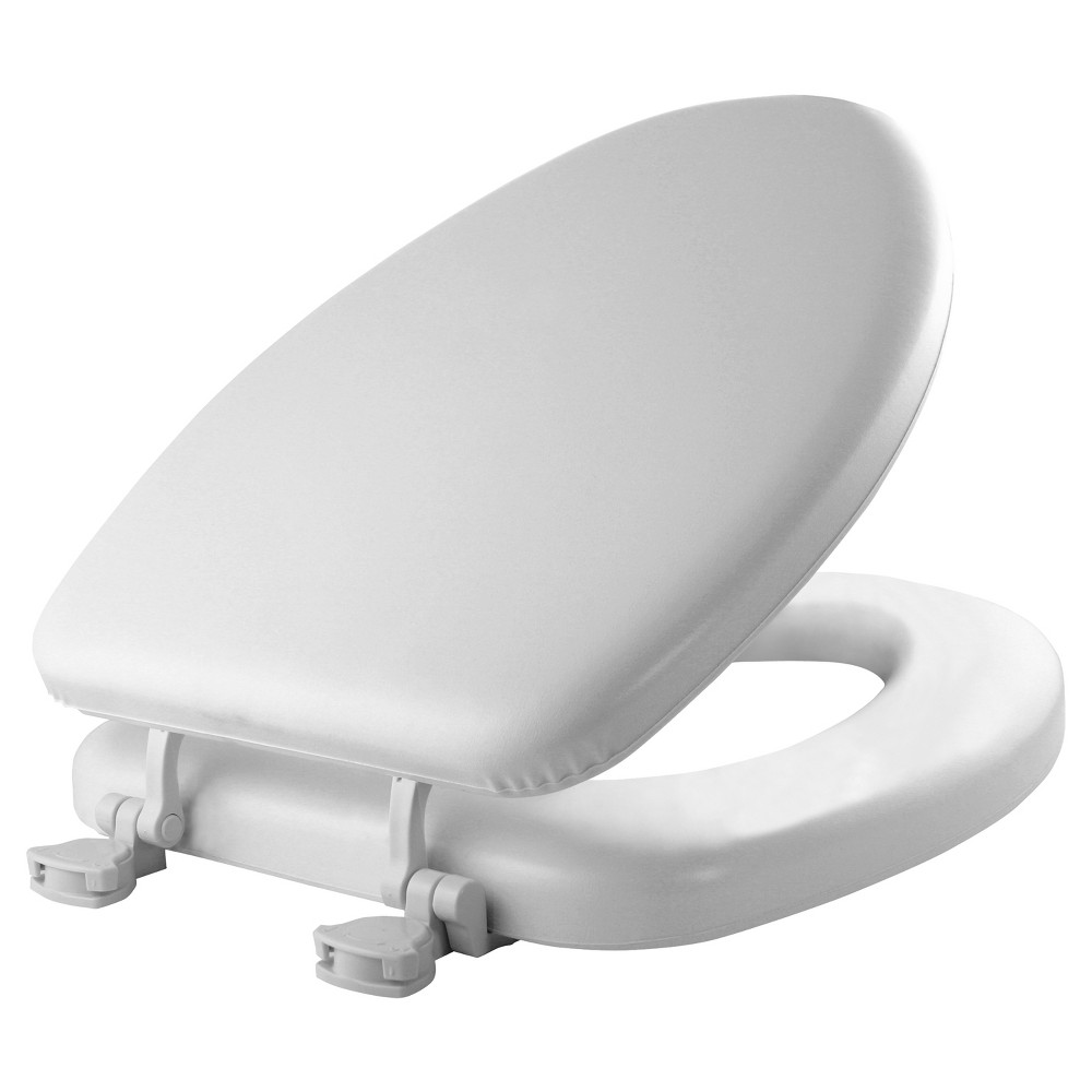 Image of Elongated Cushioned Vinyl Soft Toilet Seat with Easy Clean & Change Hinge White - Mayfair