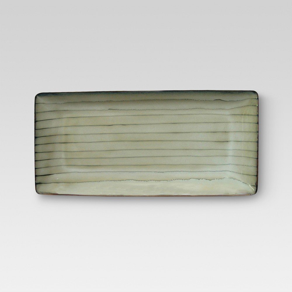 Bamboo Stoneware Serving Platter (Medium) - Threshold