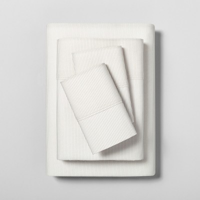 Queen Sheet Set Organic Microstripe Pebble / Sour Cream - Hearth & Hand™ with Magnolia