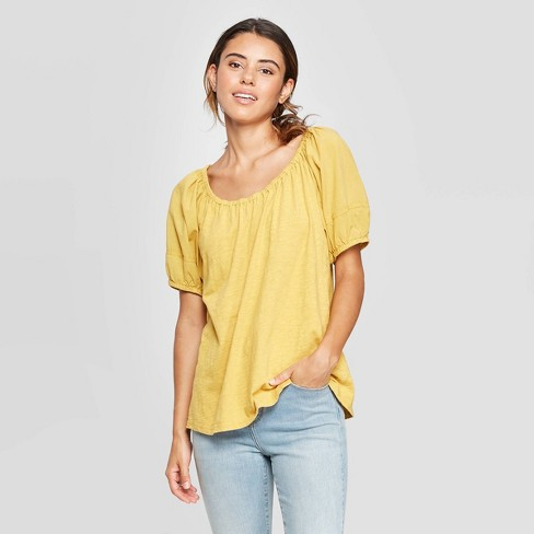 Women's Puff Short Sleeve T-Shirt - Universal Thread™ Fall Sun - image 1 of 3