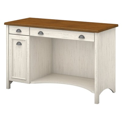 Bush Furniture Stanford Computer Desk with Drawers, 48W Antique White/Tea Maple WC53218-03