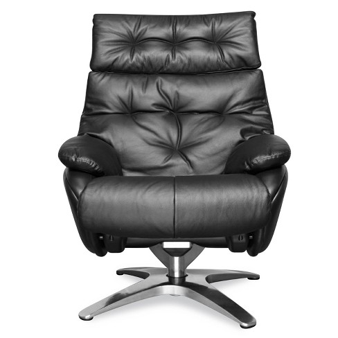 Alexander Leather Lounge Chair with Ottoman - Poly & Bark - image 1 of 4
