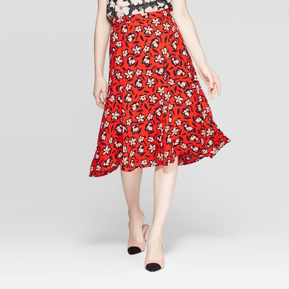 b10c1f21c0c1 Womens Floral Print Mid Rise Seamed A Line Slip Skirt Who What Wear Red 16