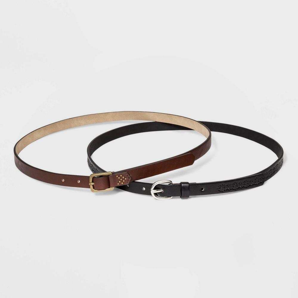 1950s Accessories | 50s Scarf, Belt, Parasol, Umbrella Womens 2pk Buckle Belt - Universal Thread BrownBlack L $14.99 AT vintagedancer.com