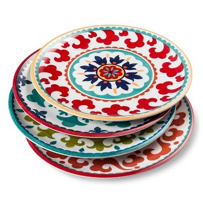 Suzani Geometric Melamine 4pc Salad Plate 9 x9  Set