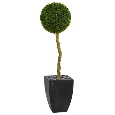 4ft Boxwood Ball Topiary Artificial Tree In Black Planter - Nearly Natural