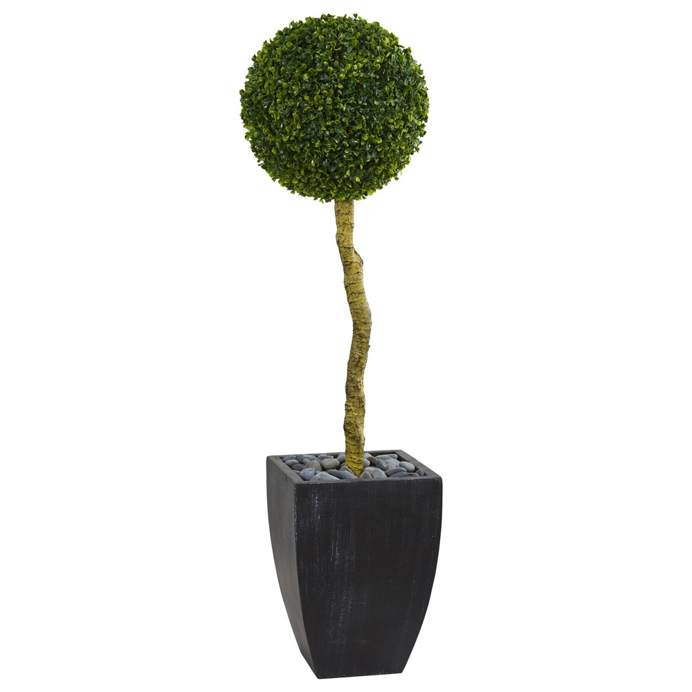 4ft Boxwood Ball Topiary Artificial Tree In Black Planter - Nearly Natural, Green