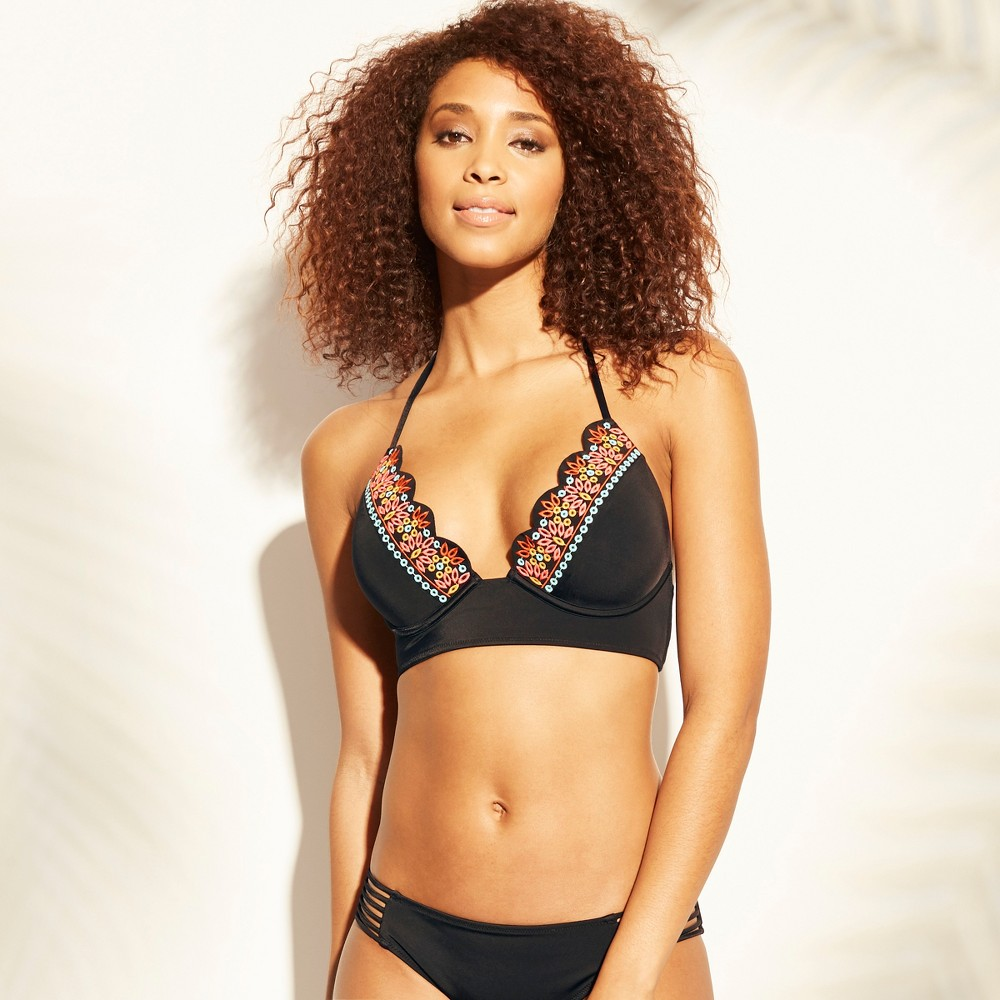 Women's Tropics Light Lift Eyelet Trim Triangle Bikini Top - Shade & Shore Black 34D