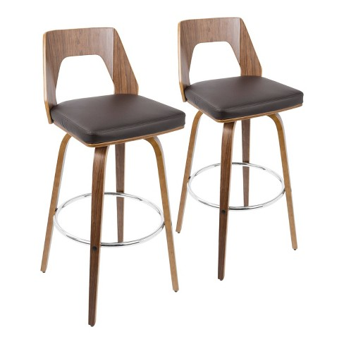Set of 2 Trilogy Mid Century Modern Barstools Faux Leather - LumiSource - image 1 of 4