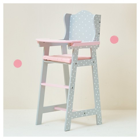 Olivia S Little World Baby Doll Furniture Baby High Chair Gray Polka Dots
