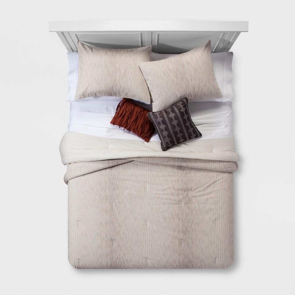 Ombre Woven Texture Cotton Comforter Set (Full/Queen) 5pc, Tan
