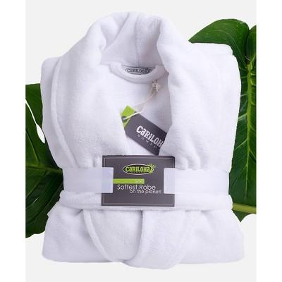 L/XL Ultra Plush 100% Rayon from Bamboo Bath Robe White - Cariloha