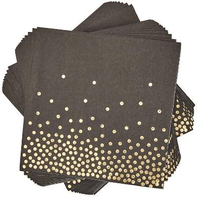 Blue Panda 50-Pack Disposable Gold Foil Polka Dot Black Dinner Napkins Party Supplies