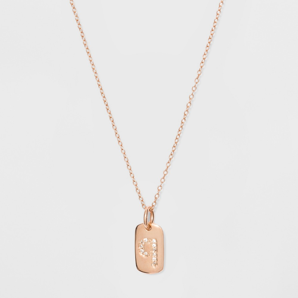Sterling Silver Initial Q Cubic Zirconia Necklace - A New Day Rose Gold, Rose Gold - Q