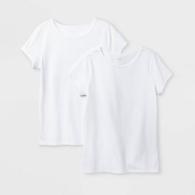Girls' 2pk Adaptive Short Sleeve T-Shirt - Cat & Jack™ White