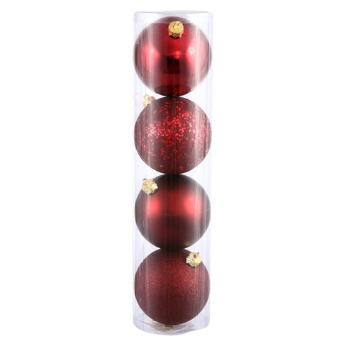 4ct Burgundy Assorted Finishes Ball Shatterproof Christmas Ornament Set - image 1 of 1