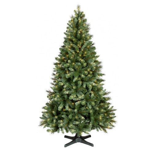 7ft prelit artificial christmas tree douglas fir clear lights rotating stand wondershop - Best Place To Buy Artificial Christmas Tree