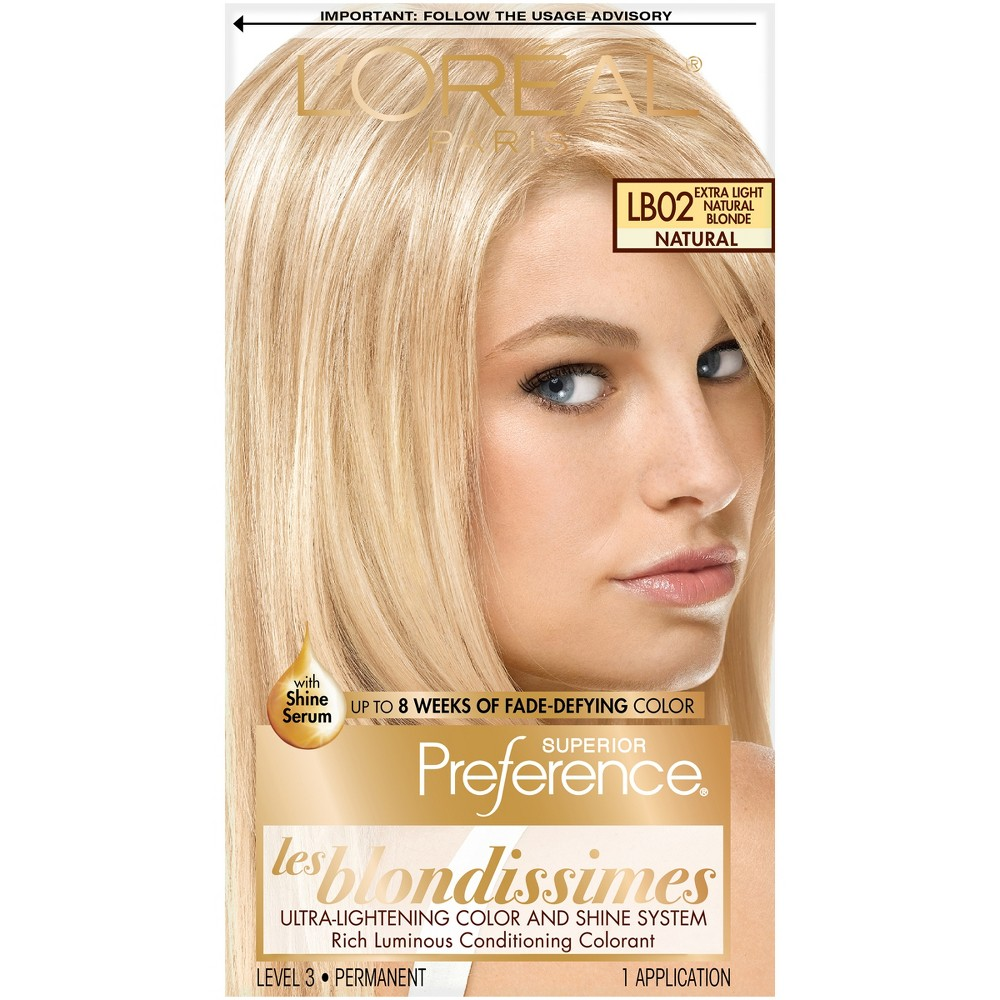 L'Oreal Paris Superior Preference Les Blondissimes Ultra Lightening Color and Shine System - LB02 Extra Light Natural Blonde - 1 Kit