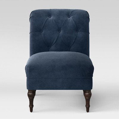 Wales Rollback Tufted Turned Leg Slipper Chair Navy Velvet - Fully Assembled - Threshold™