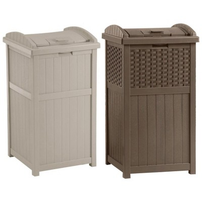 Suncast Trash Hideaway 33 Gallon Garbage Container, 1 Beige and 1 Brown(2 Pack)