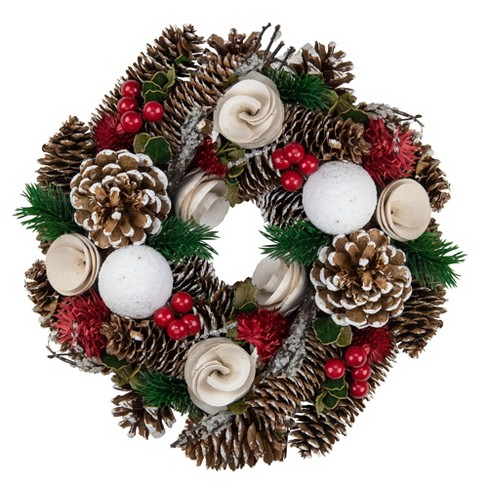 "Northlight 10"" Unlit Frosted Pine Cone, Twigs and Berries Artificial Christmas Wreath - image 1 of 3"