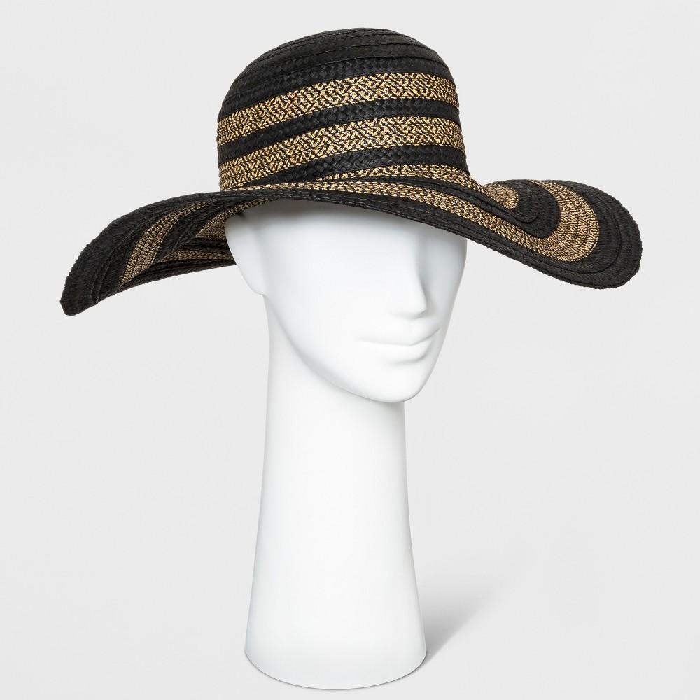 Women's Mix Braid Floppy Hat - A New Day Black