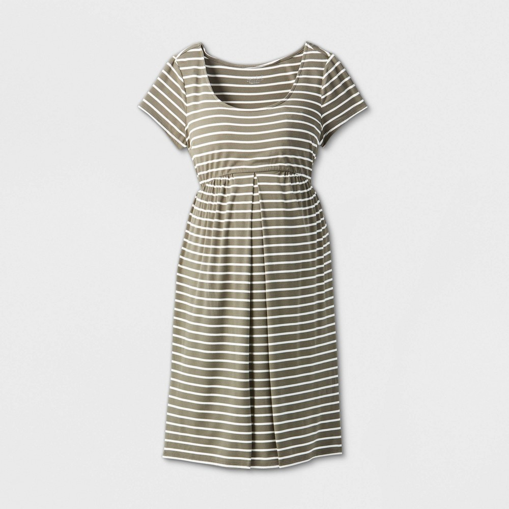 Maternity Striped Short Sleeve A-line T-Shirt Dress - Isabel Maternity by Ingrid & Isabel Olive/White S, Green/White was $24.99 now $10.0 (60.0% off)