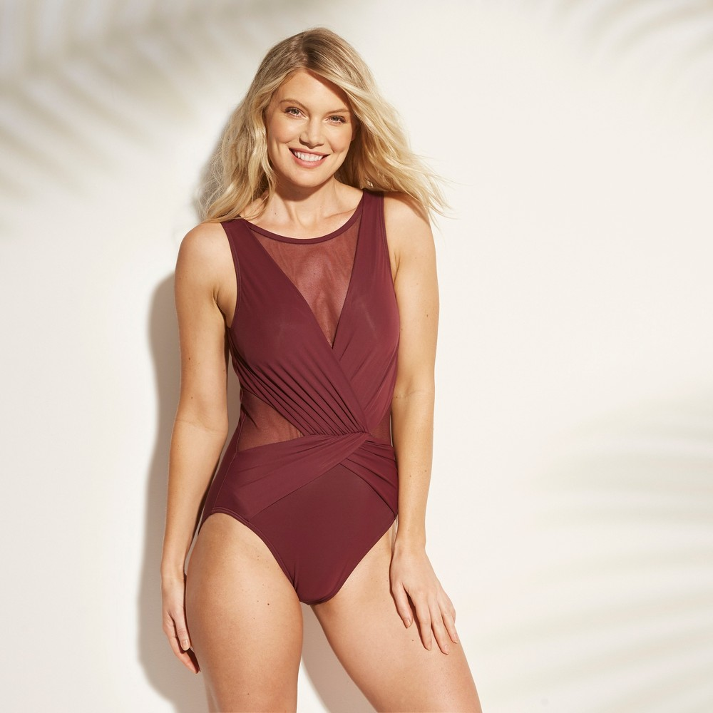 Women's Mesh Inset One Piece Swimsuit - Aqua Green Currant S