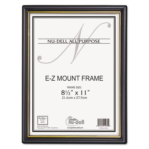 Nudell EZ Mount Document Frame w/Trim Accent Plastic 8-1/2 x 11 Black/Gold 18/CT 11818 - image 1 of 4