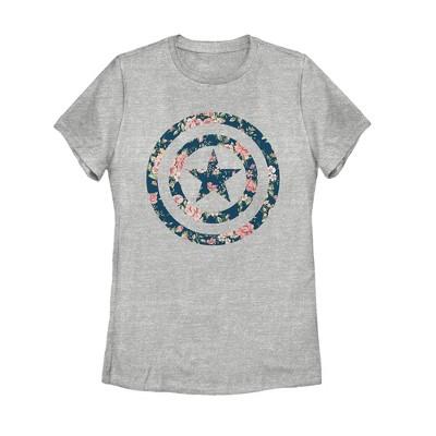 Women's Marvel Captain America Floral Print T-Shirt