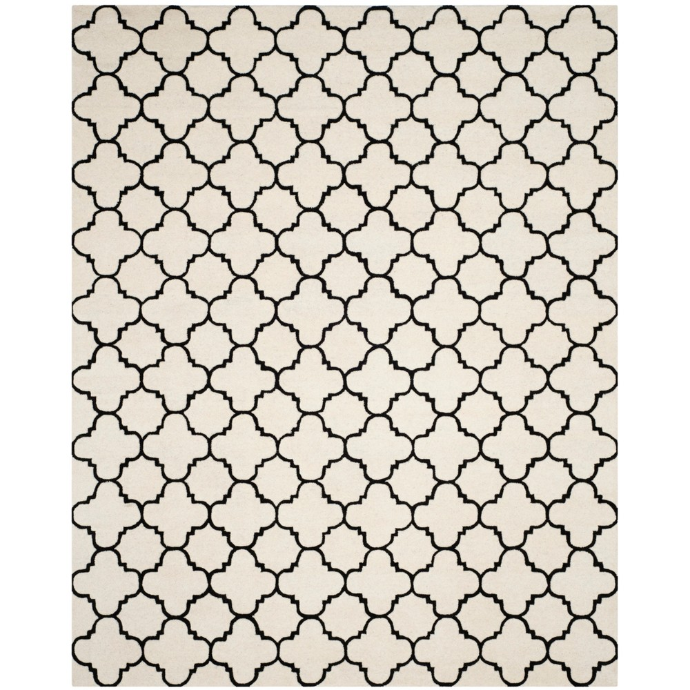 Tufted Quatrefoil Design Area Rug Ivory/Black