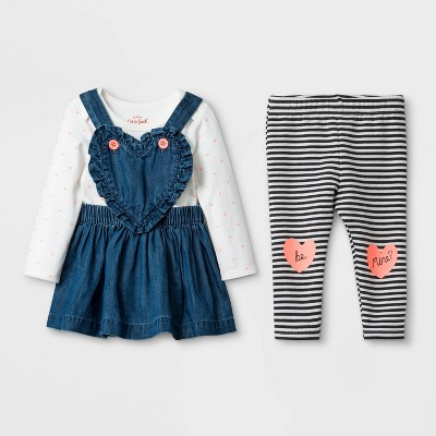 Baby Girls' 3pc Heart Print Denim Skirtall Set - Cat & Jack™ Cream/Blue 18M