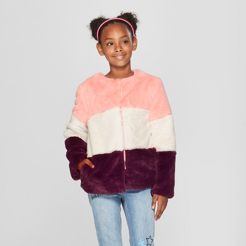 Girls' Faux Fur Jacket - Cat & Jack™ Pink - image 1 of 3