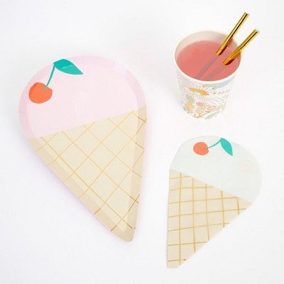 Meri Meri - Ice Cream Party Supplies Collection (Plate, Napkin, Cup) - Set of 8