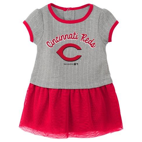 13e3ccf6378d Cincinnati Reds Baby Girls' Pinstriped Short Sleeve Dress & Bloomer Set - Gray  18 M : Target