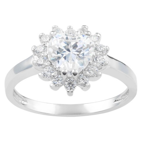 5/8 CT. T.W. Heart-Cut Cubic Zirconia Bezel Set Engagement Ring in Sterling Silver - White - image 1 of 2