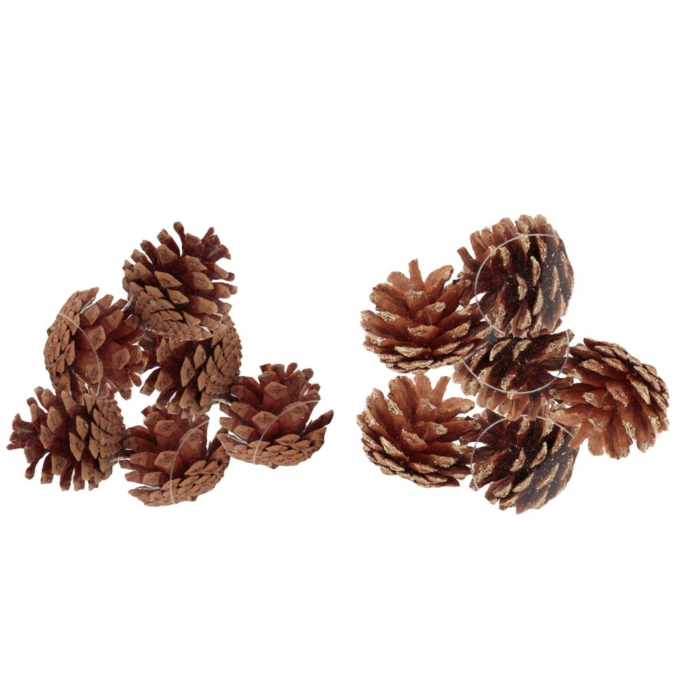 12ct Plain/Gold Tipped Natural Pinecones Christmas Ornament Set - Wondershop