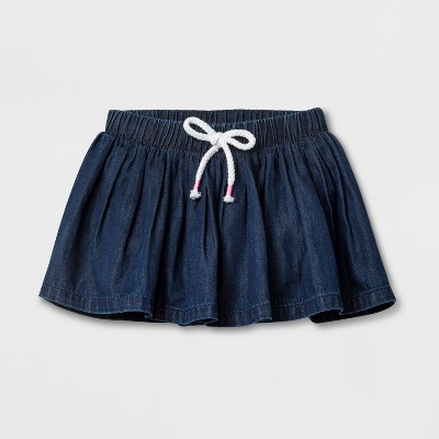 Baby Girls' Denim Wash Skirt - Cat & Jack™ Blue 6-9M
