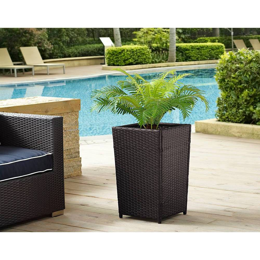 Image of 24 Square Palm Harbor Steel Planter Brown S - Crosley